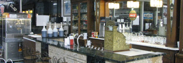 Old-fashioned soda fountain at Cardinal Drug Store.